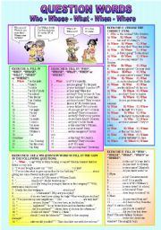 English Worksheet: �WH - QUESTION WORDS� - Who-Whose-What-When-Where-(( 5 Exercises / 85 Sentences to complete )) - Elementary/Intermediate - (( B&W VERSION INCLUDED ))