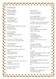 English worksheet: Witches´s Brew overhead projector demonstration of poem part 1