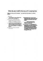 English Worksheets: Wordsand difiniotions with examples