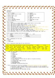 English worksheet: Witches´s Brew overhead projector demonstration of poem part 3 Answer key to the witches´ brew worksheets