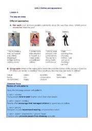 English worksheet: Clothes and appearance