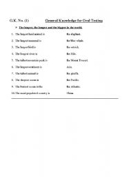 English Worksheets: General Knowledge