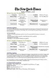English Worksheet: job ads for HVAC technicians