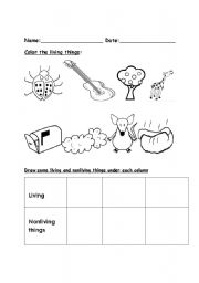 English worksheets: Living and nonliving things