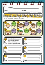 English Worksheet: HOW OLD ARE THEY? WHEN�S THEIR BIRTHDAY?