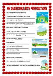 English Worksheets: Wh questions with prepositions