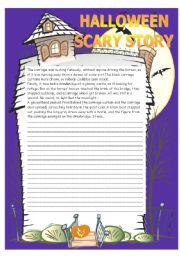 Halloween scary story worksheet