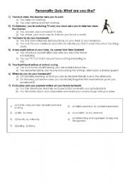 English Worksheet: Quiz: what are you like?