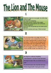 image about The Lion and the Mouse Story Printable identify The lion and the mouse - ESL worksheet via addiss