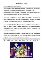 English Worksheet: The Nativity / Christmas Story