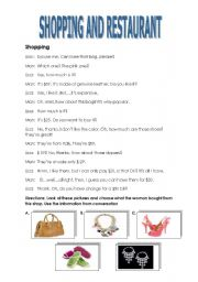 English Worksheets: Let�s Shop