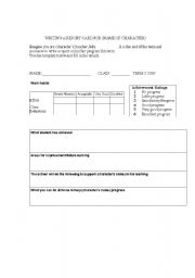 English Worksheets: Writng a report card for a character