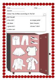 English worksheet: Sam´s Wardrobe