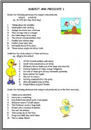 simple subject and predicate worksheet