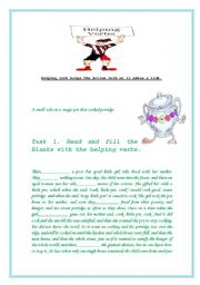 English worksheet: Helping verb helps the Action verb or it makes a link.