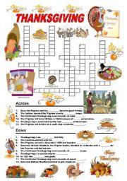 English Worksheet: Thanksgiving - crossword