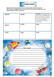 English Worksheets: A New Planet