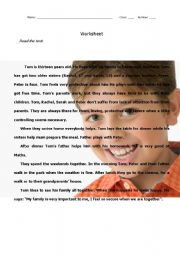 English Worksheet: Tom�s daily routine, family, likes and dislikes 1/2 - text