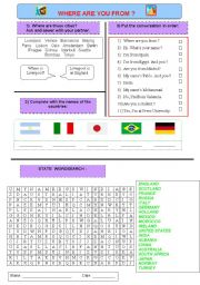 English Worksheet: Countries. Where are you from?