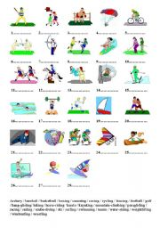 Learn vocabulary linked with sports, verbs, lots of possible activities