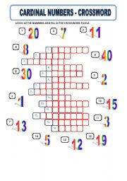 CARDINAL NUMBERS - CROSSWORD