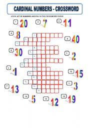 CARDINAL NUMBERS - CROSSWORD