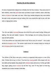 English Worksheet: Family Life of the Indians I