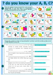 English Worksheet: DO YOU KNOW YOUR A, B, C?