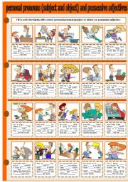 English Worksheet: PERSONAL PRONOUNS (SUBJECT AND OBJECT) AND POSSESSIVE ADJECTIVES