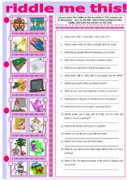 English Worksheets: RIDDLE ME THIS!