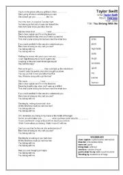 English Worksheets: Taylor Swift (You Belong With Me)