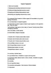 english worksheets surgical equipment for spanish speakers. Black Bedroom Furniture Sets. Home Design Ideas