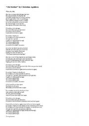 English Worksheets: �Oh Mother� by Christina Aguilera