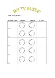 English Worksheets: my tv guide