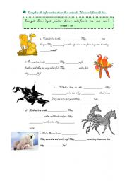 English worksheet: Animals!