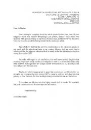 Official Letter Sample In English from www.eslprintables.com