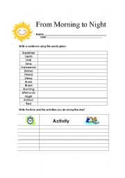 English Worksheets: From Morning to Night