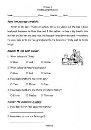 Primary one reading comprehesion - ESL worksheet by sueng