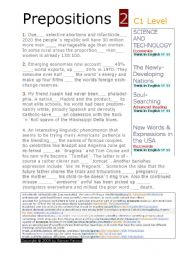 English Worksheet: PREPOSITION *C1 LEVEL ( ADVANCED)