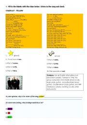 English worksheet: SONG YELLOW - COLDPLAY