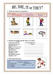 English Worksheet: Personal Pronouns: HE, SHE, IT or THEY