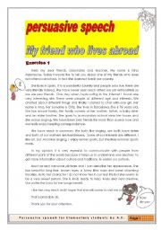 English Worksheet: PERSUASIVE SPEECH (Public Speech) 2 pages/3exercises