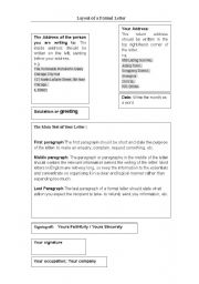 English Worksheets: Layout of formal writing (1)
