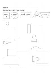 English worksheet: shape names