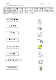 English worksheet: FIND OUT THE ANIMALS - CODES