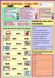 English Worksheets: Nouns (countable) - Plural Form