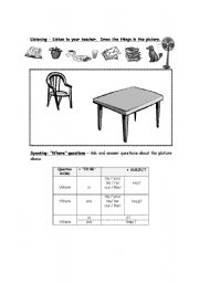English Worksheet: Picture dictation and preposition practice.