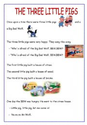 It is an image of Sizzling Three Little Pigs Story Printable