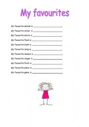 English Worksheets: Fill in - my favourites