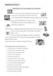 English Worksheets: reading comprehension activity